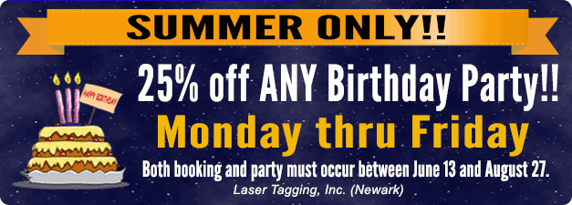 Summer Birthday Special! 25% off any birthday party on weekdays (Monday to Friday). Both booking and party must occure between June 13 and August 27