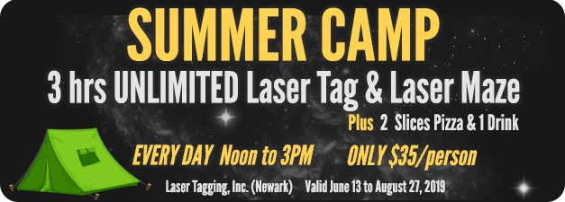 Summer Camp comes to Laser Tagging! 3 hr UNLIMITED Laser Tag & Laser Maze, plus 2 slices pizza and 1 drink. Every day, Noon to 3pm. $35/person